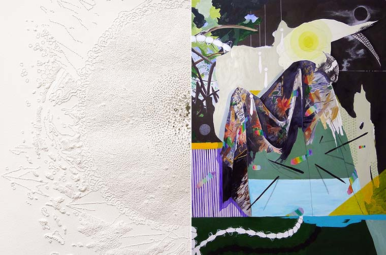 """Left: Julia Westerbeke, Untitled  (detail), 2015 Right: Melissa Murray,  """" 'The spectral mists of dawn shrowded the trees and hung low along the landscape.' """" (detail), 2015, Mixed medium on paper, 40 x 40 inches"""
