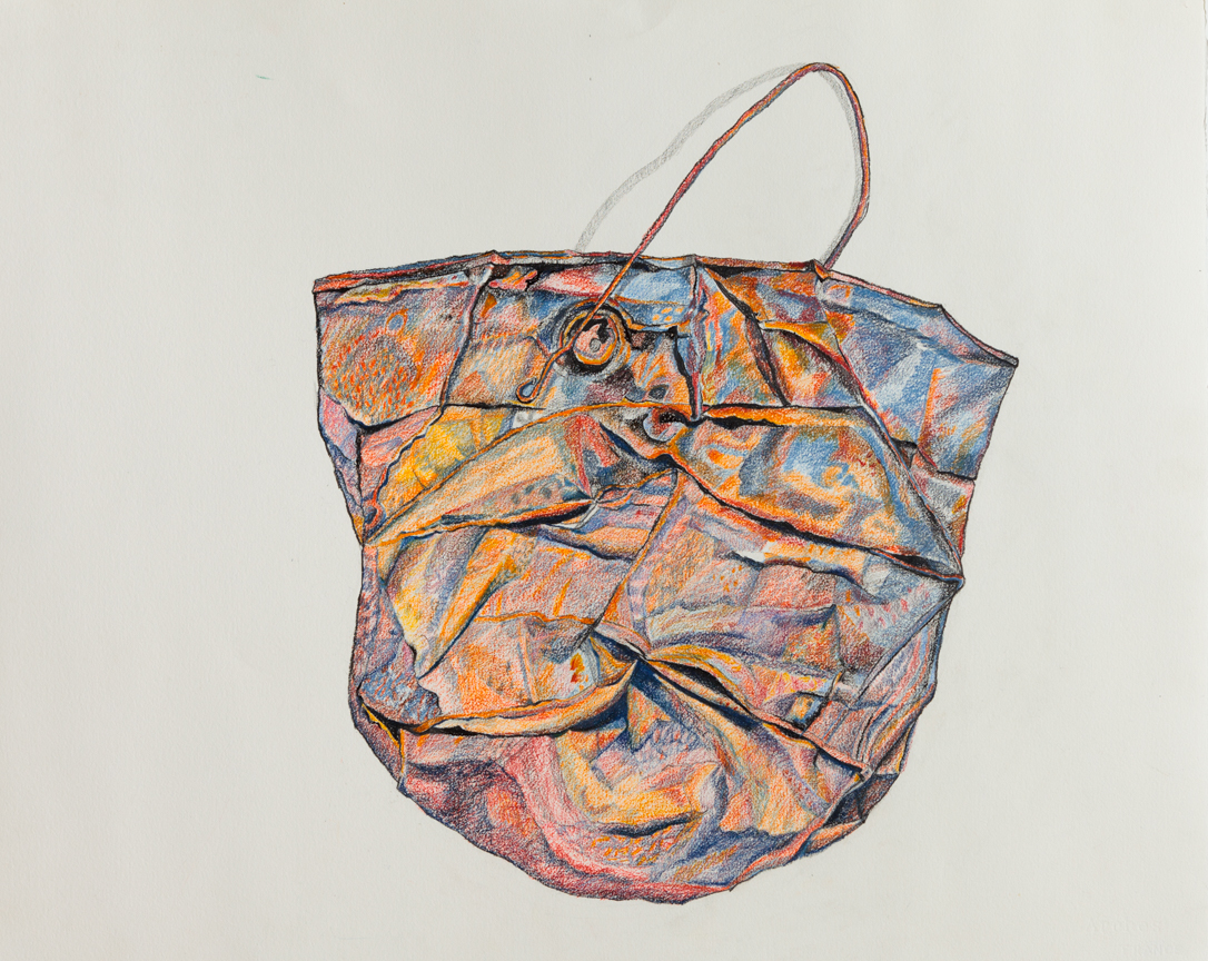 Barbara Siegel,  Rusty Bucket , 2014, Colored pencils and charcoal on paper, 26 x 33 inches