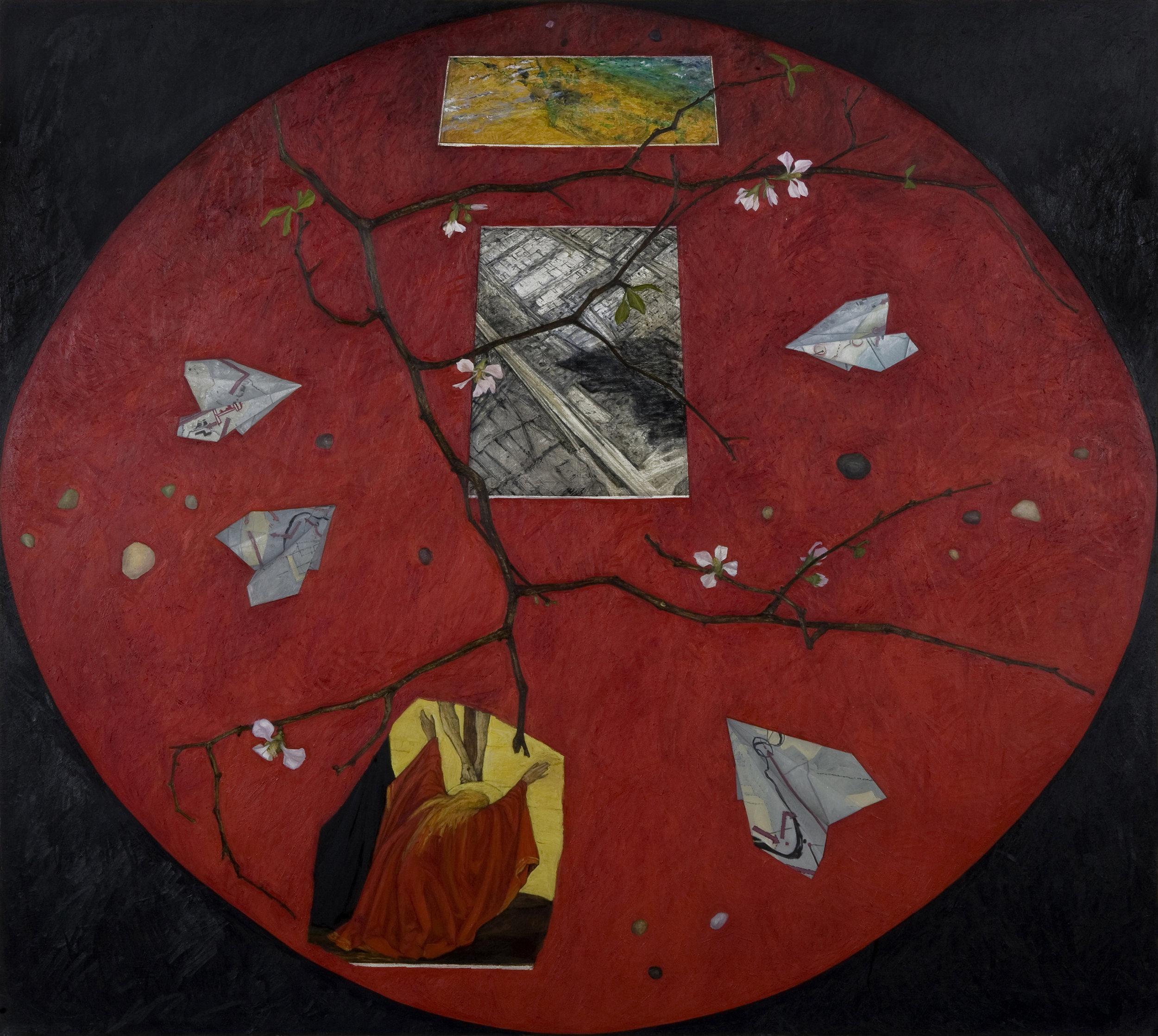 Regina Granne,  Red Table II , 2004, Oil on linen, 56 x 62 inches