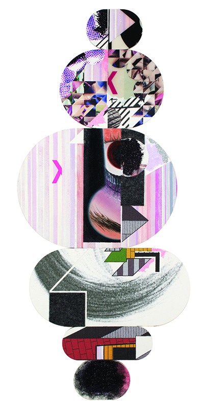 "Alisa Henriquez,  Floaters No. 6 , 2015, digital prints, magazine images, acrylic paint, resin, glitter, felt on wood panel, 58""x25"""
