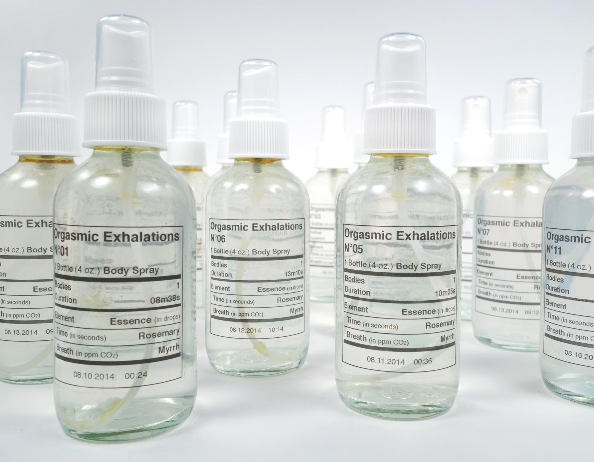 Amanda Turner Pohan,  Organismic Exhalations , 2014, Body Spray's #001-0013, Dimensions variable