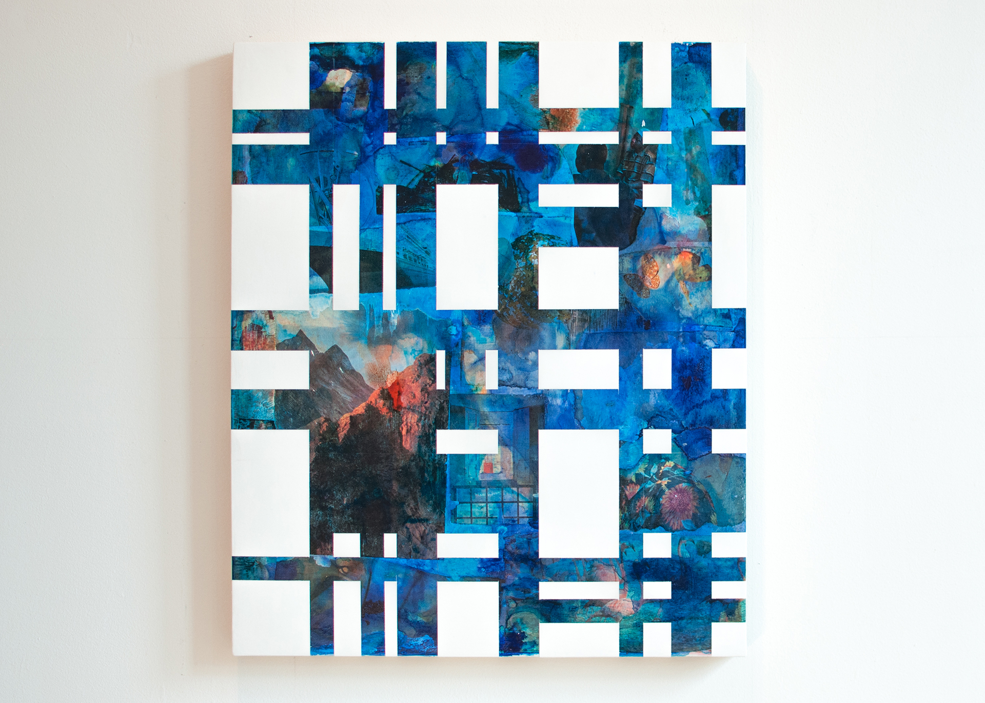 Composition 1 , 2014, Acrylic, photo ink, and vinyl on birch panel