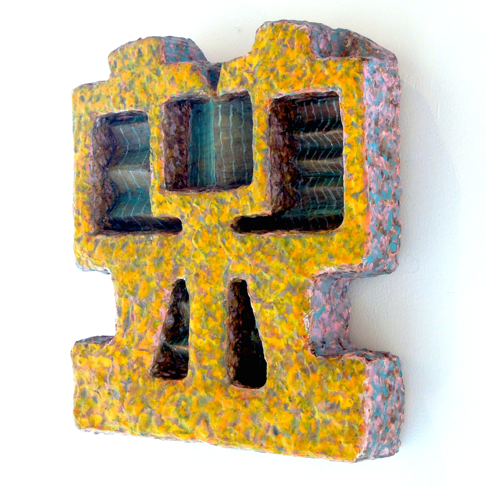 """Iris Goldstein,  Bits and Pieces 18 , Found objects, plaster and acrylic, 11""""x10.5""""x2"""""""