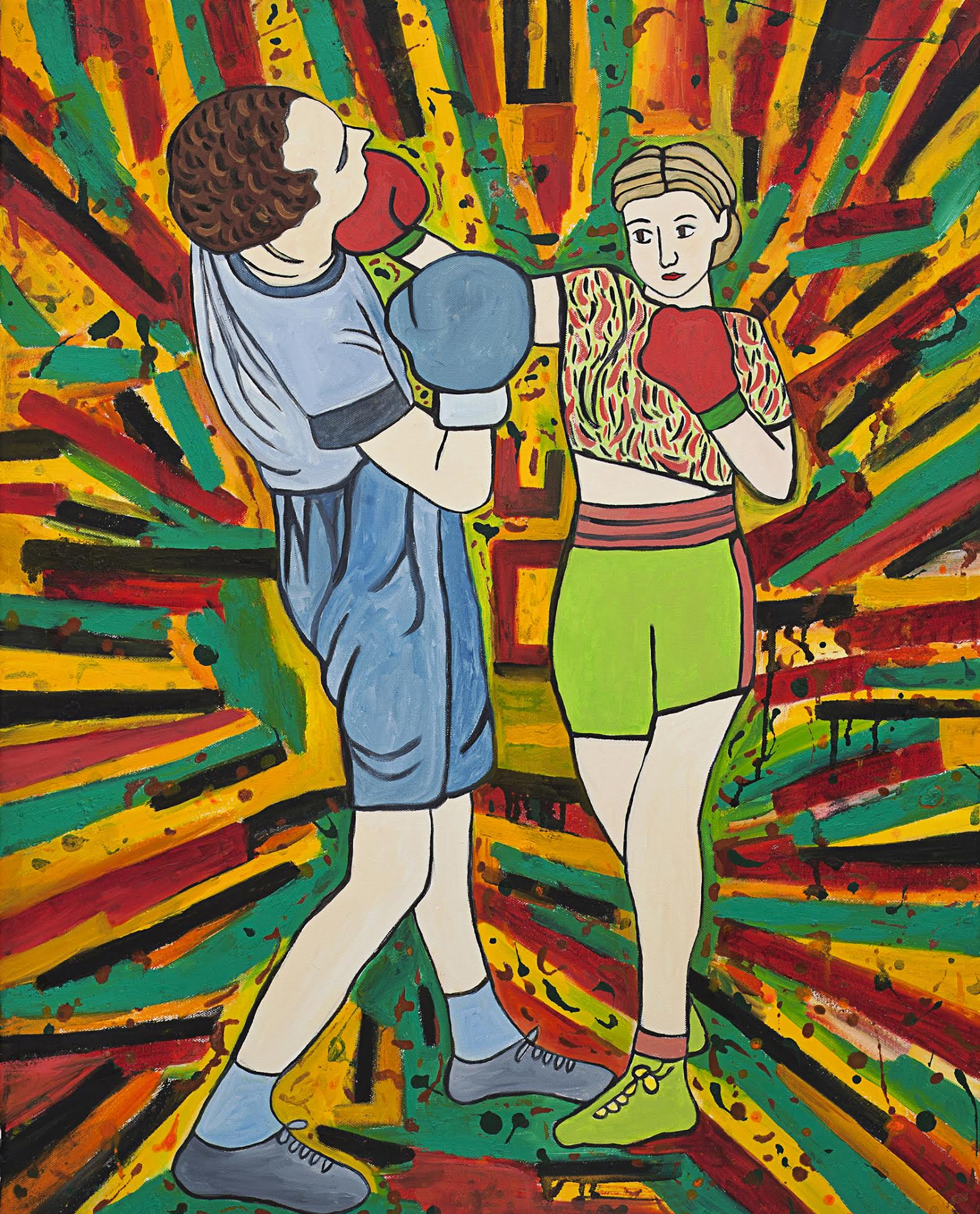 Susan Bee, Pow! , 2014, Oil, enamel, and sand on canvas, 30 x 24 inches