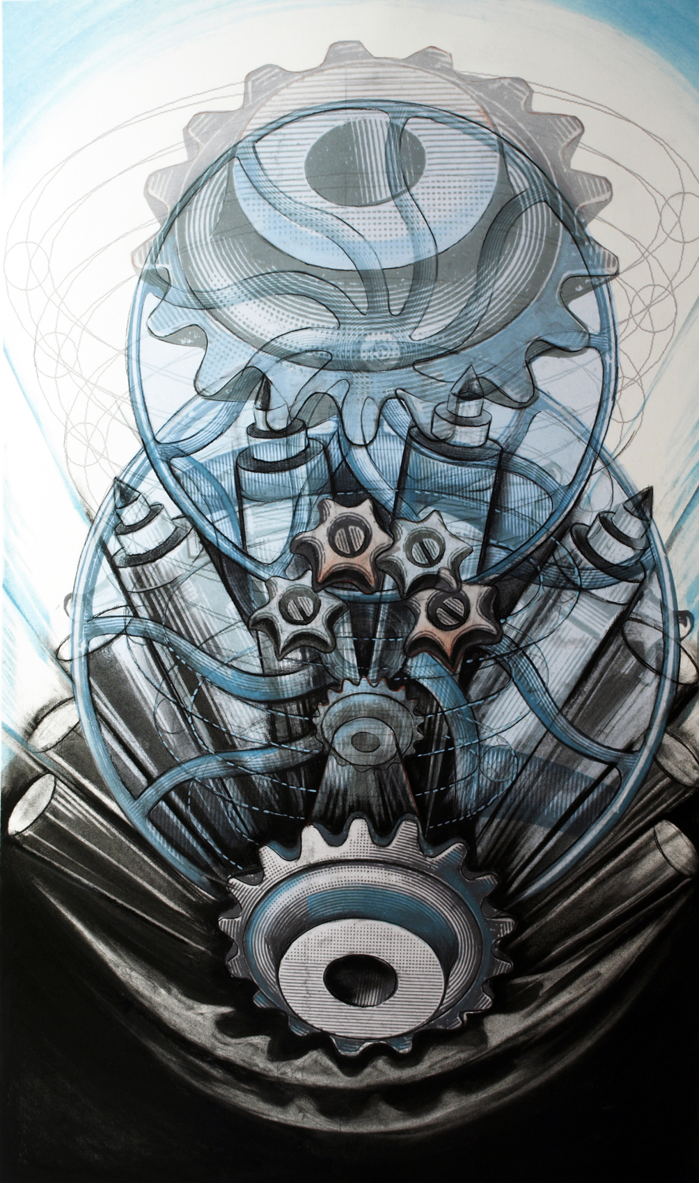 Enterprising Machines,  2014, Charcoal, pastel and digital print, 46 x 29 inches
