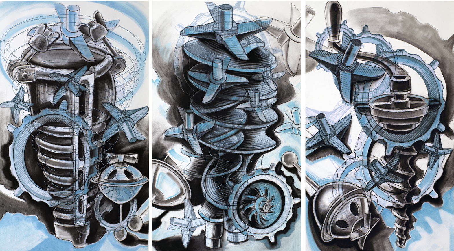 Enterprising Machines,  2014, Charcoal, pastel and digital print, 46 x 78 inches