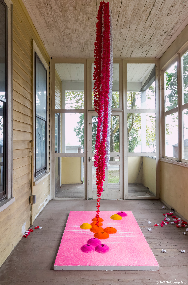 Heaven On Earth , 2014, Site-Specific installation with salt, colored salt and cloth