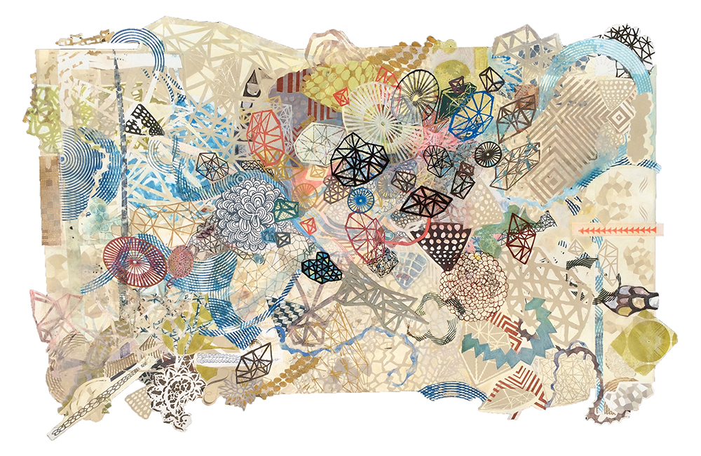 "Tricky Bees Knees, 2016, embellished monoprint, 25"" x 44"" cut irregularly along border"