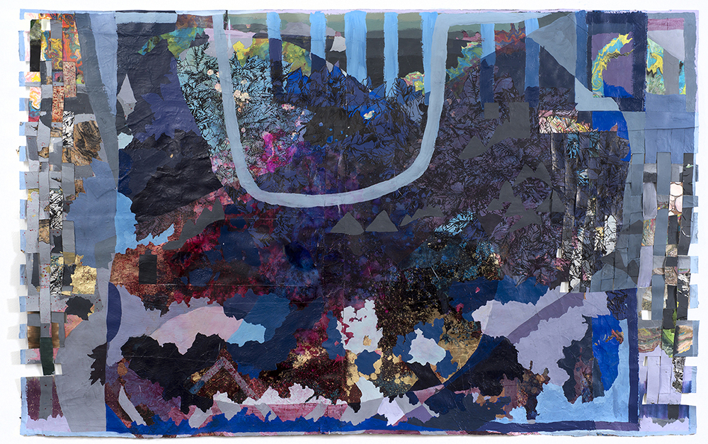 Dunhuang 5 . Acrylic and sumi ink on collaged and woven papers. 51 x 82 in. 2016
