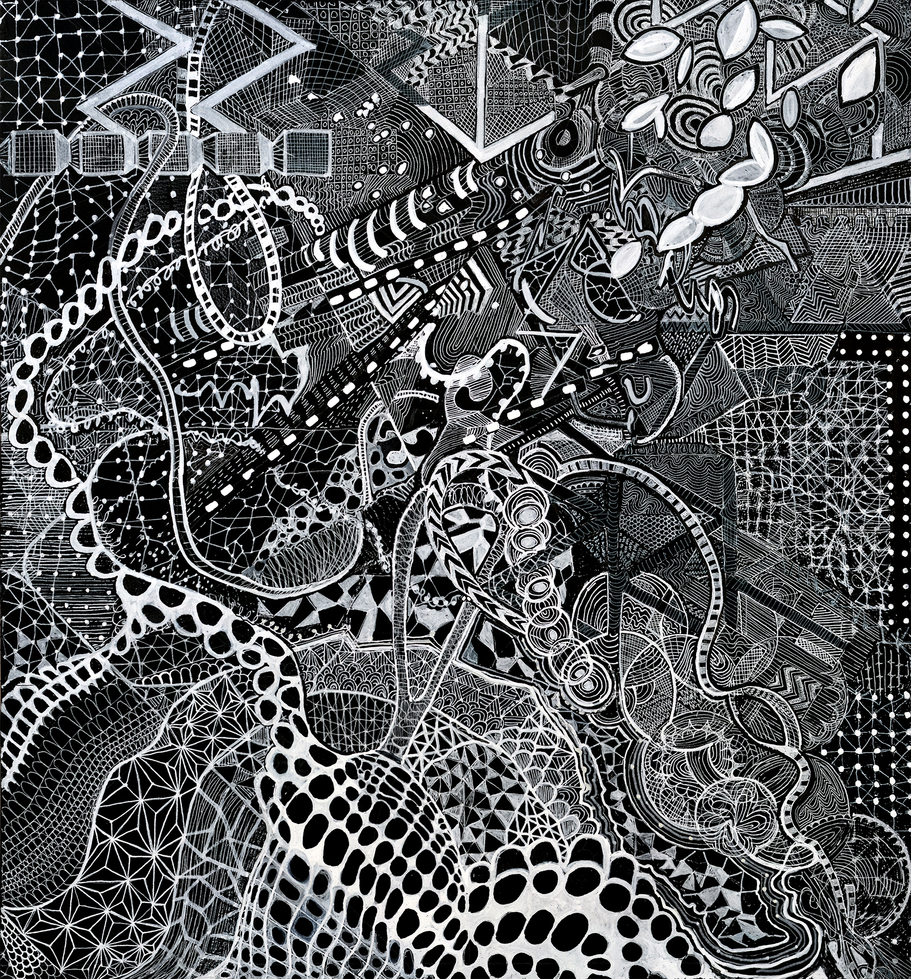 """Rhizome Mind Map detail,  2017, ink on paper mounted on wood panel,24"""" x 22""""."""