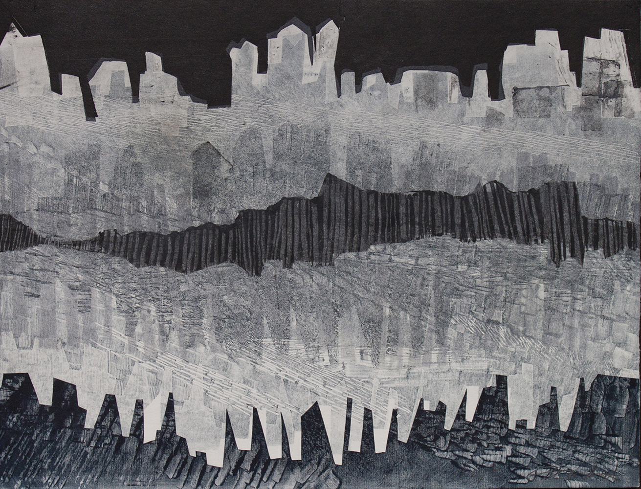 """Patty Smith & Claire Fouquet, Paleolithic Skyscrapers ,2015 Monotype, 12"""" x 15"""""""