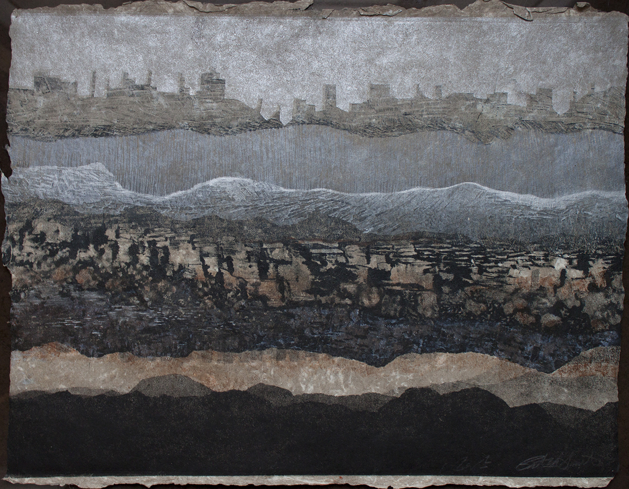 """Patty Smith & Claire Fouquet,  Geology/Genealogy II ,2014,monotype on handmade paper, 22"""" x 30"""""""