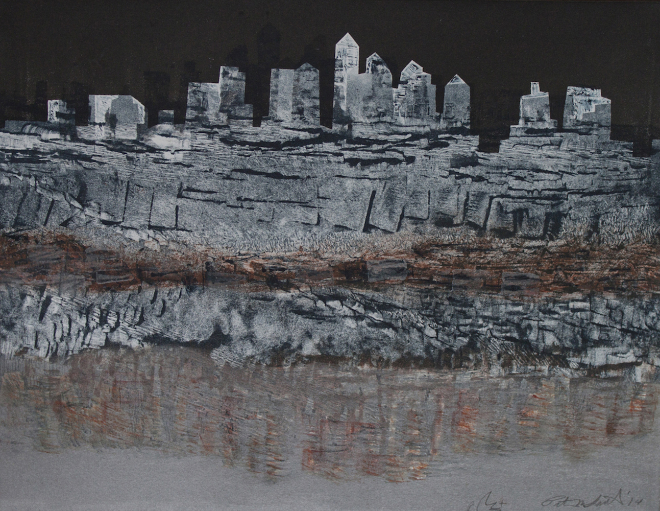 "Patty Smith & Claire Fouquet, Urban Geology I , 2014, monotype, 12"" x 15"""