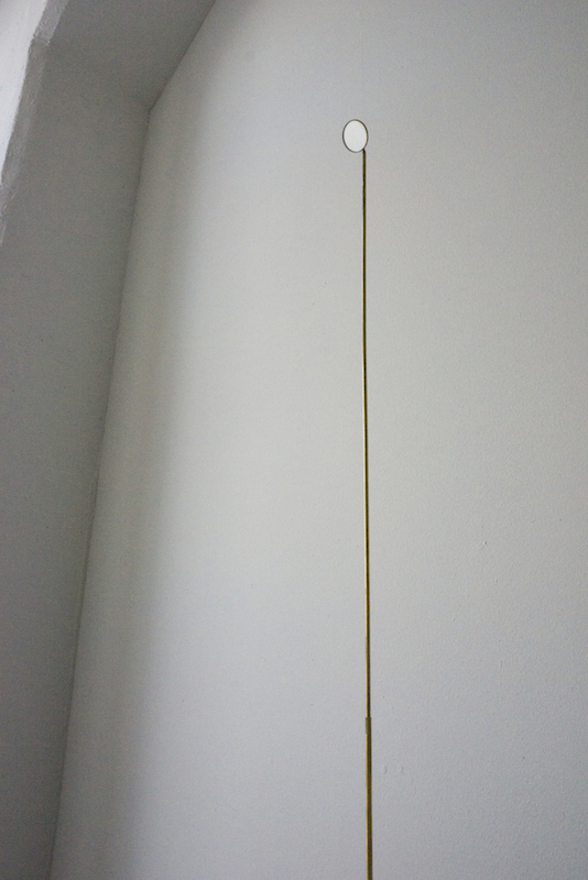 vigilance , 2016, brass, mouth mirror, dimensions variable