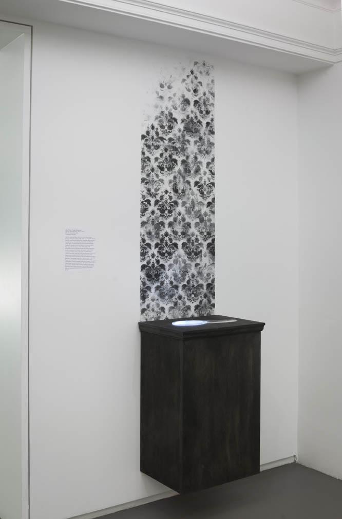 DarkGlass . 2014, Kiln cast glass, video, ashes, wood, 8' x 2' x 1.5'