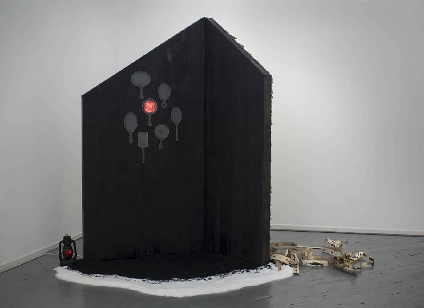 You Can't Go Home Again.  2014, Kiln cast glass, video, mixed media, 8' x 6' x 3'