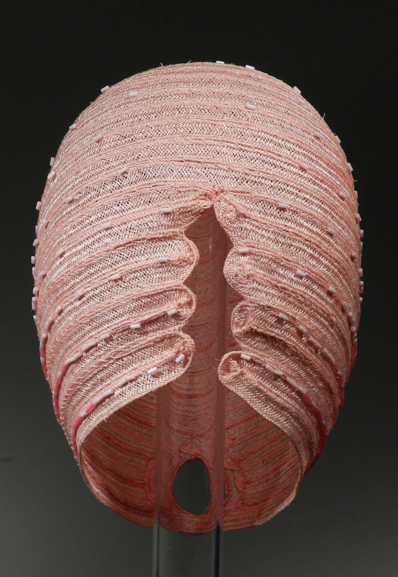 "Untitled Pink detail (back) , 2016, hemp braid, glass beads, 9"" x 7"" x 8"""