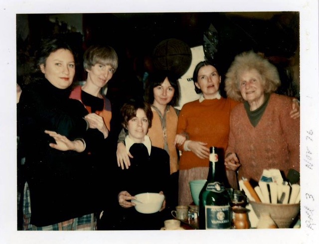 Left to right:  Loretta, Clover, Maude (seated), Daria, Anne and Sari , 1976