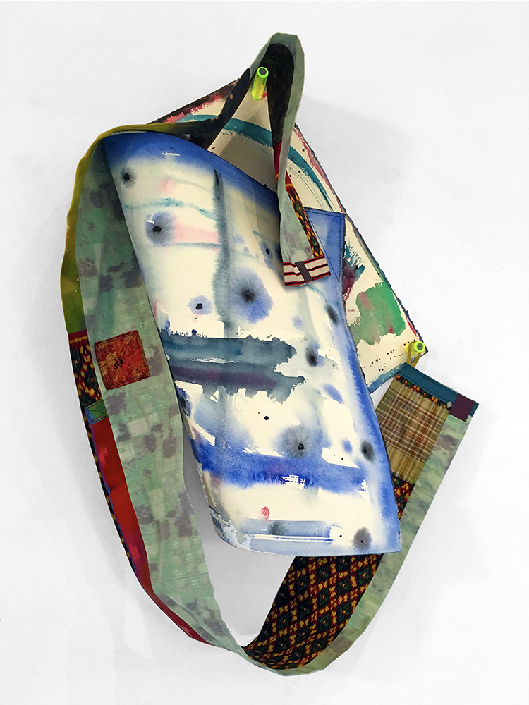 Watercolors and Wearables: Danu ,2017,mixed textiles,two-sided watercolor,hardware, 24h x 18w x 5d in.