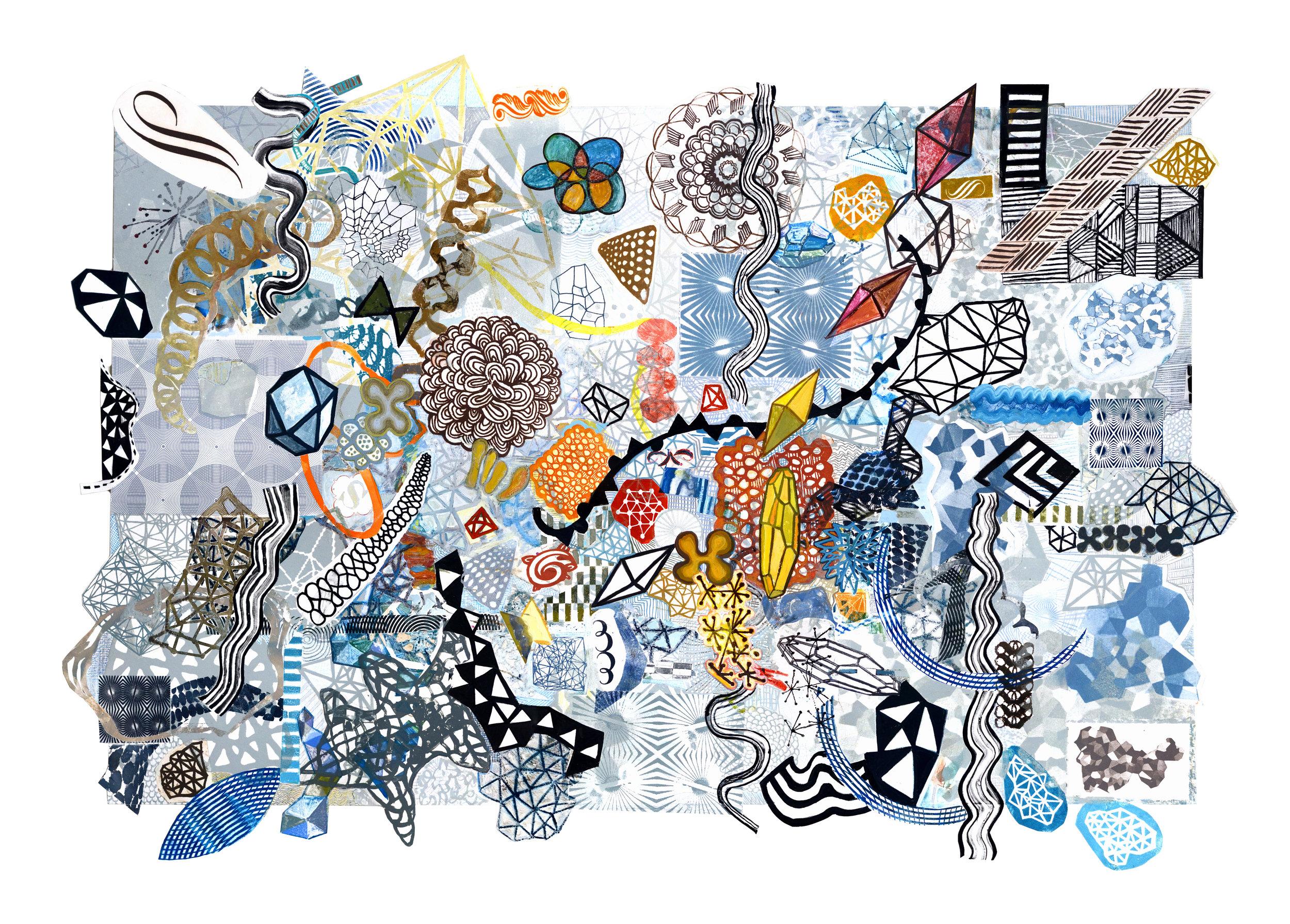 "Midnight Afternoon , hand embellished mixed media monoprint, 32"" x 48""cut irregularly along border."