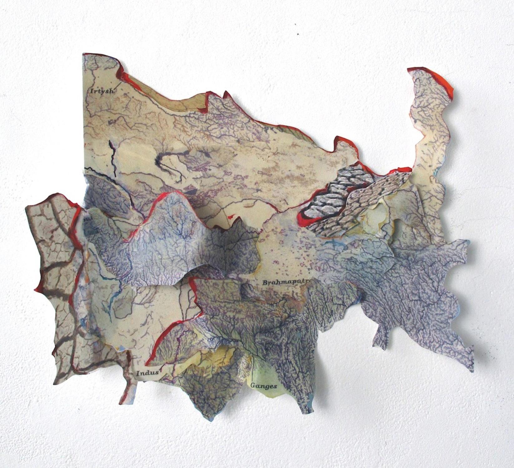 "Torn Asia , 2012, Inkjet print, paint, archival paper, 16"" x 18""x 2.5"""