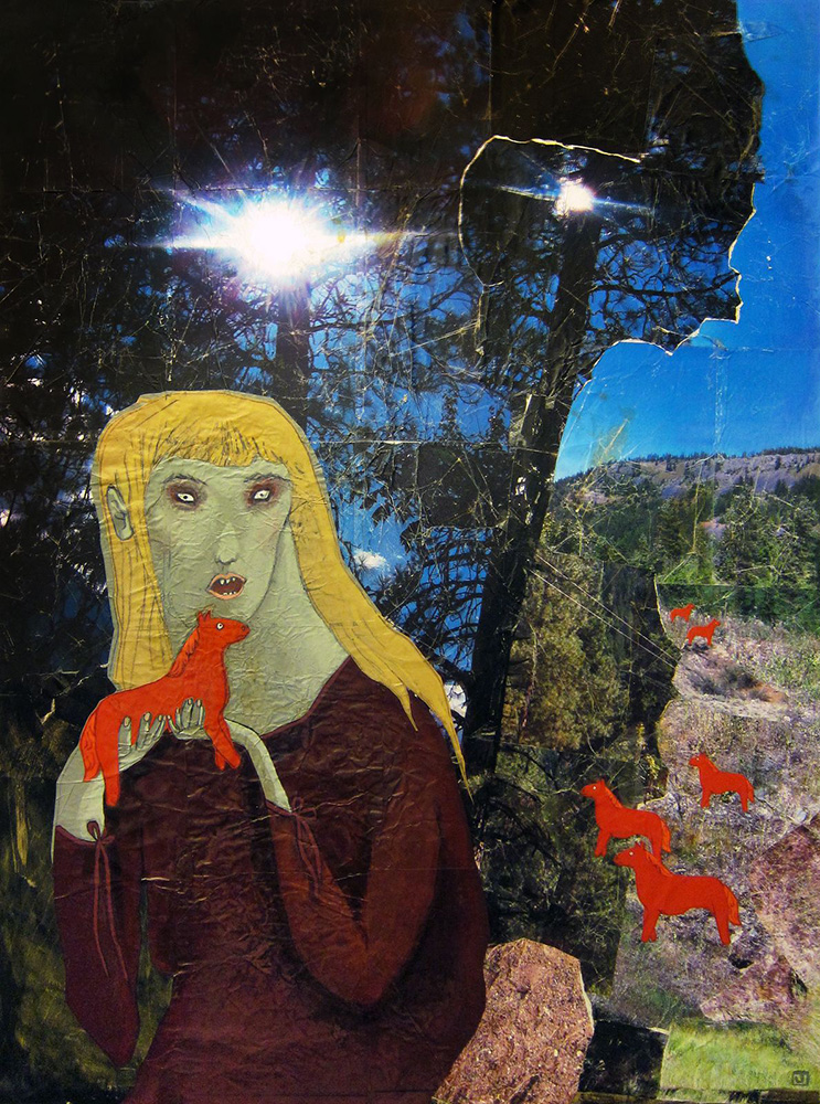 40 Acres and a Pony , 2012, Acrylic, paper, photograph on wood, 48 x 36 inches