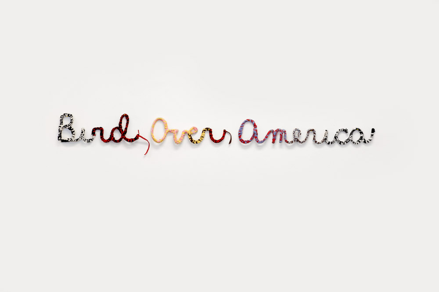 "Bird Over America , 2018, wool felt, wire, 6"" x 68"" x 1.5"""