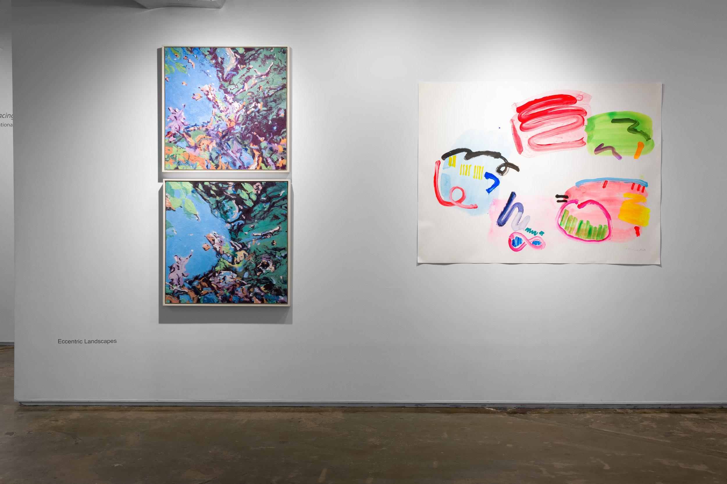 Left: Mimi Oritsky,  The Bright #14  and  The Bright #13 , 2017. Oil on canvas  Right: Mineko Yoshida,  Kinder Drawing No. 8 , 2016. Acrylic on Yupo
