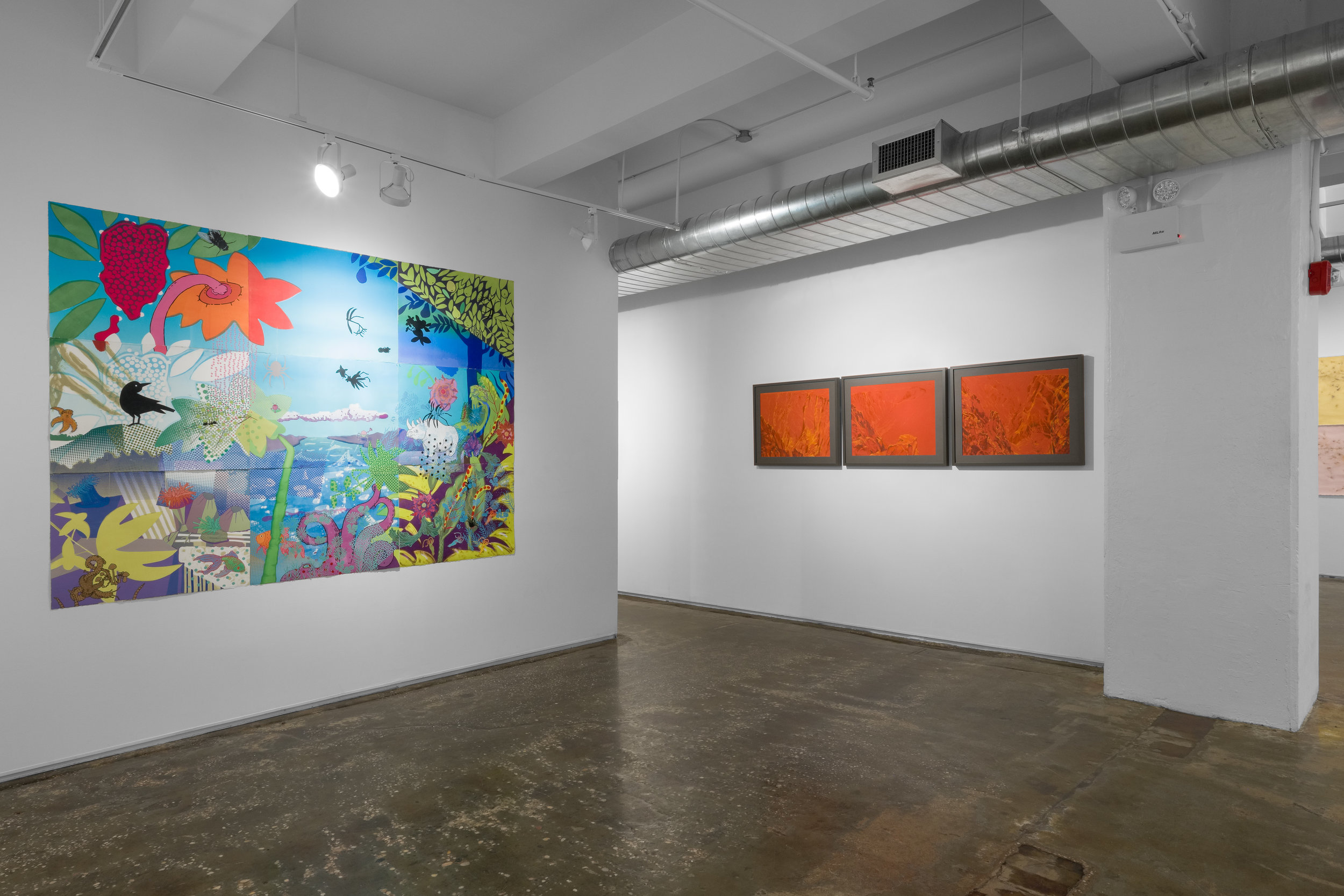 """Left: Vicky Tomayko,  Notes for the Near Threatened , 2017. Monoprint with silkscreen collage and paint on paper  Right: Mary-Ann Kokoska, Three from """"Permanent Red"""":  Awakening, Embrace, Cracke , 2017. Pastel on paper"""