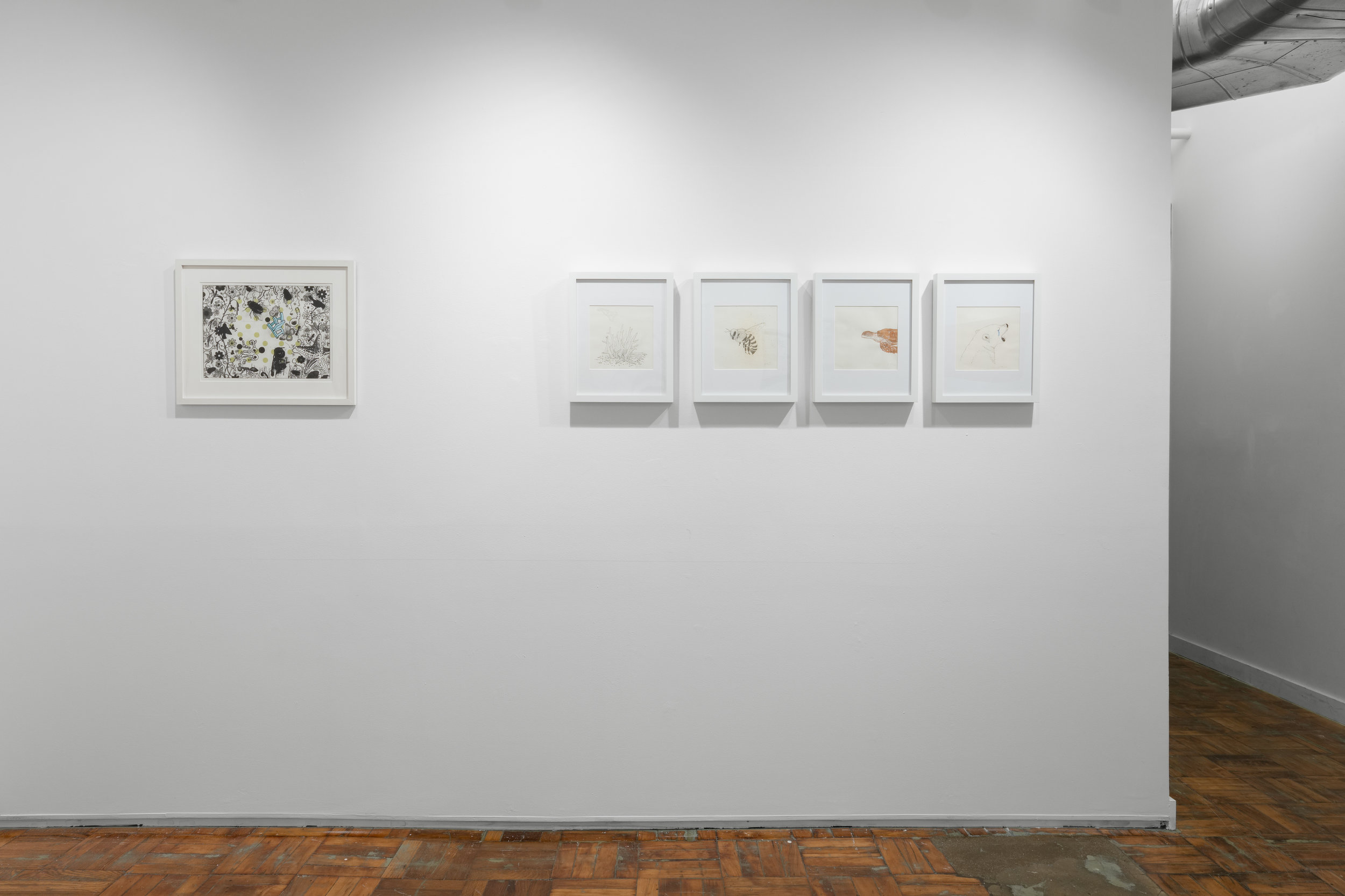"""Left: Vicky Tomayko,  Letting Everything Go , 2017. Etching, silkscreen, handcoloring on paper  Right: Meghan Quinn, Four from """"Totem"""" series:  Coral, Honeybee, Turtle, Polar Bear , 2017. India ink with acrylic on paper"""