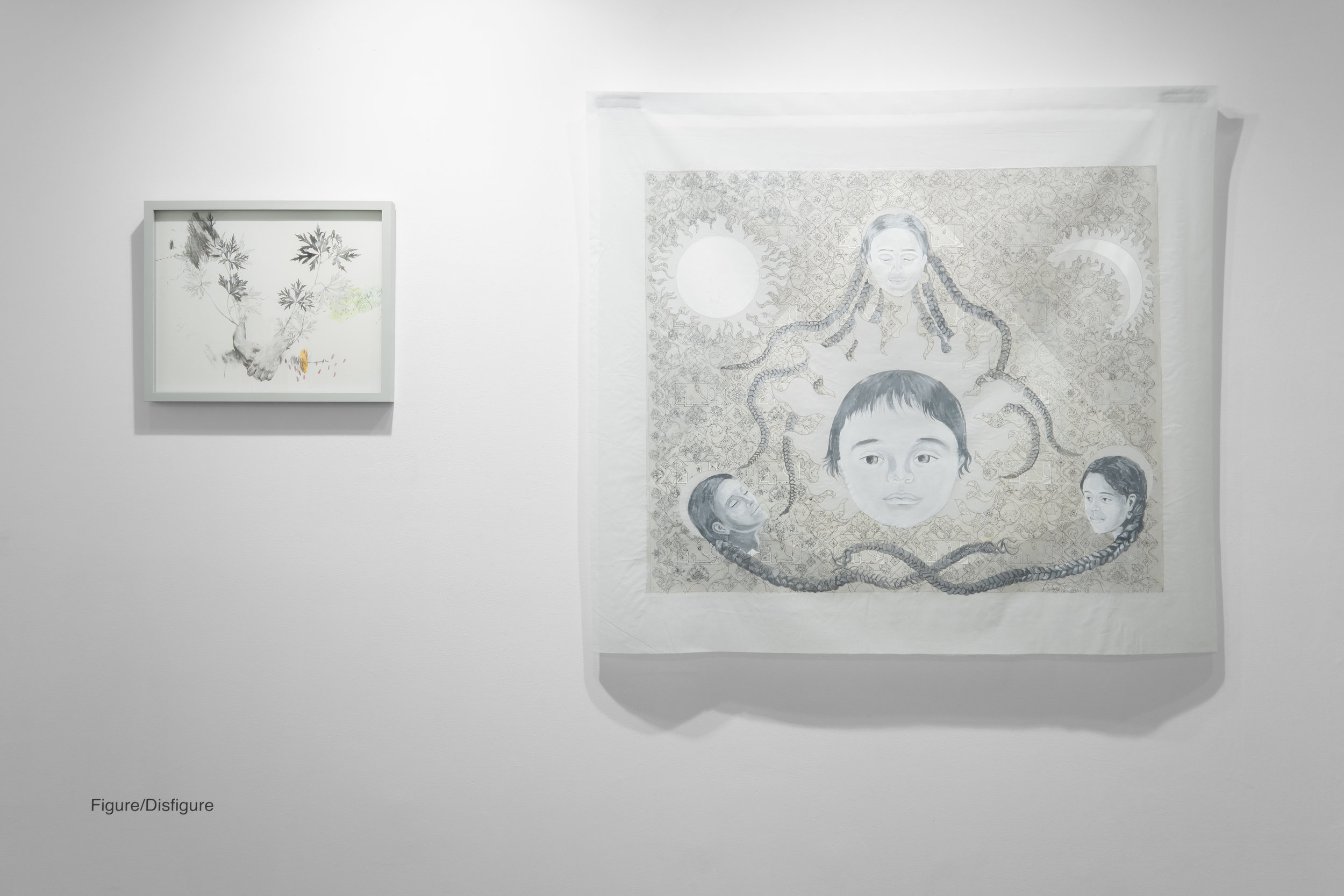 Left: Joo Yeon Woo,  Sitting in Nowhere , 2017. Ink, acylic paint on paper  Right: Hend Al-Mansour,  Flower of Paradise,  2013. Paint on cotton