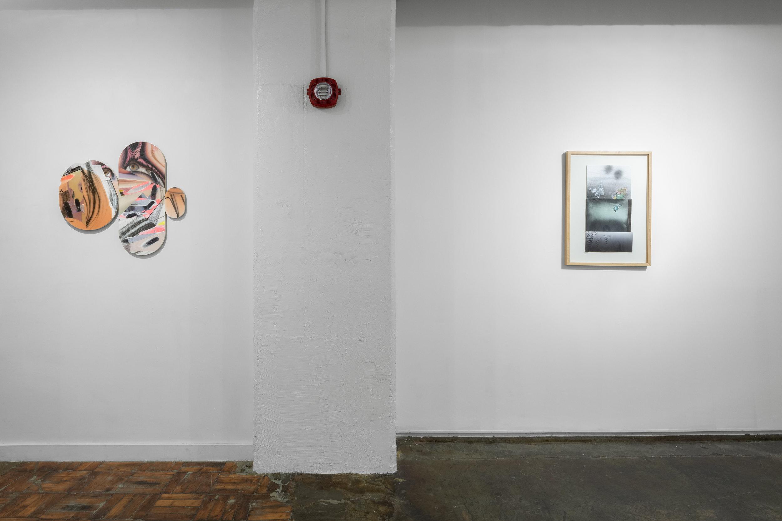 Left: Alisa Henriquez,  Makeover Culture Disfigured No. 2 , 2016. Digital prints, mixed media on wood panel  Right: d'Ann de Simone,  Black Butterfly . Mixed media collage