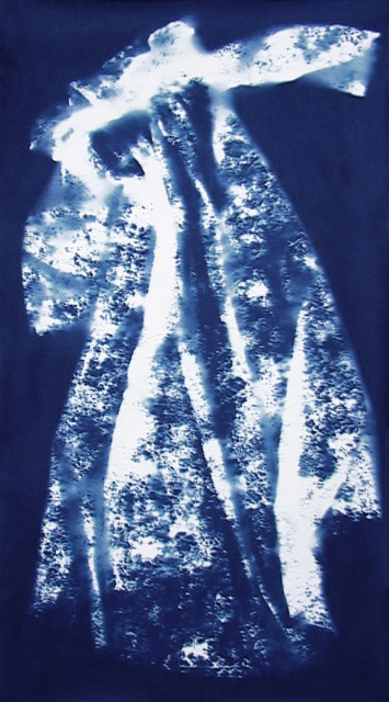 The Goddesses , 2003  150x215 cm  From the Haute Couture collections of Christian Lacroix. One of a series of photograms in cyanotype.