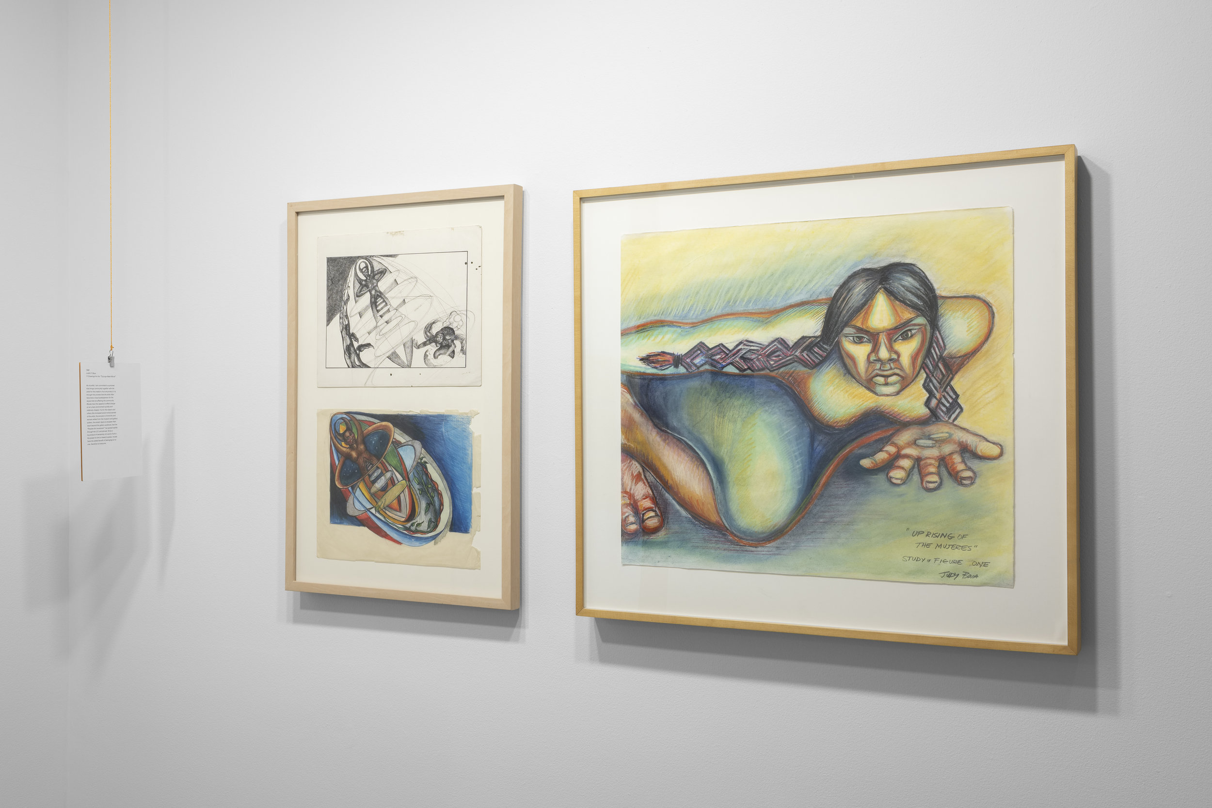 """Judith Baca, """"When God Was Woman,"""" 1982 (left) and Judith Baca """"Uprising of the Mujeres,"""" 1979."""
