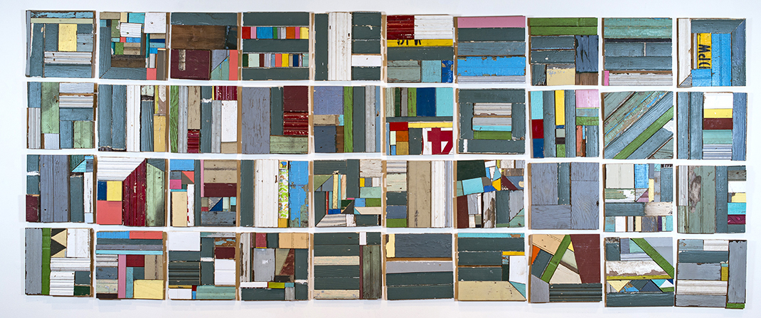 """Crazy Quilt,  40 pieces, 2018, 12"""" x 12"""", Salvaged wood from Hurricane Sandy and Gatlinburg TN Fires"""