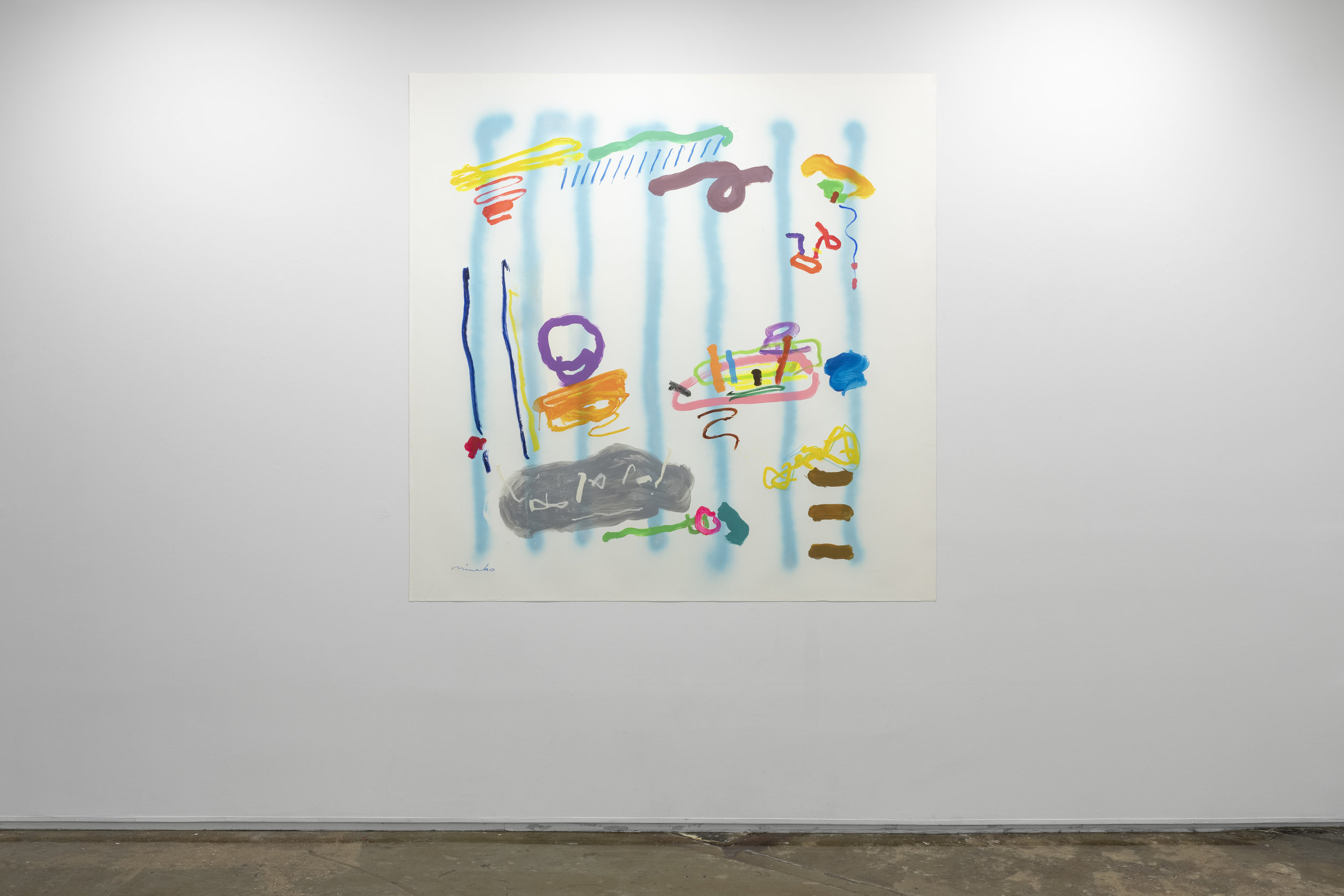 Captain Hook's Vacuum Cleaner , 2017  60x 60 in. Spray paint, acrylic, oil stick, and oil pastel on Yupo