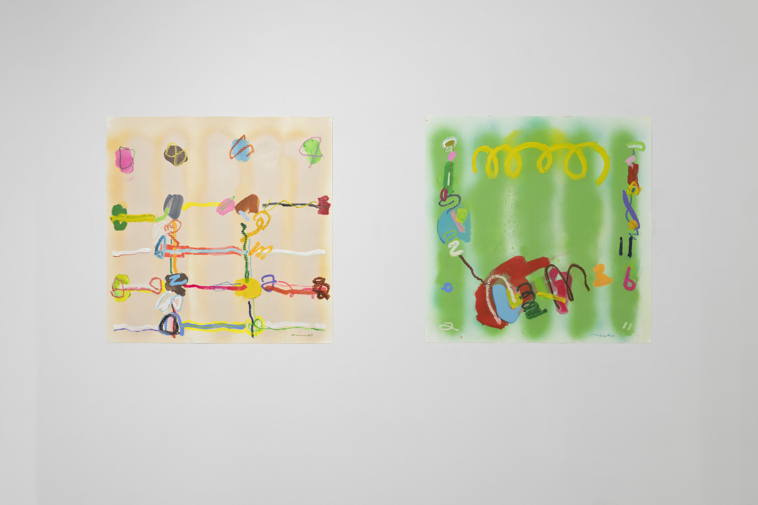 Rainbow Barbwire,  2017 (left)  30 x 30 in. Spray paint, acrylic, oil stick, and oil pastel on Yupo   Electric Filament   30 x 30 in. Spray paint, acrylic, oil stick, and oil pastel on Yupo