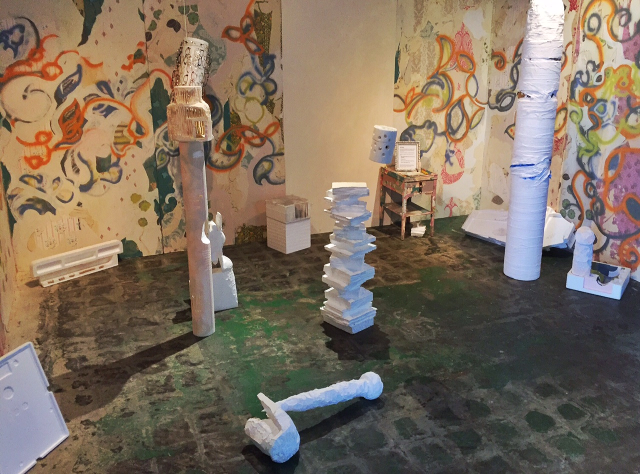 Afterfear , Recycled styrofoam and bricks, 16 x 25 foot room, 2016