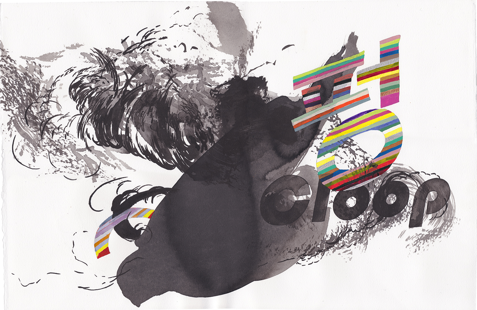 Cloop , 2018 Ink watercolor on paper, 57 x 37.5 cm