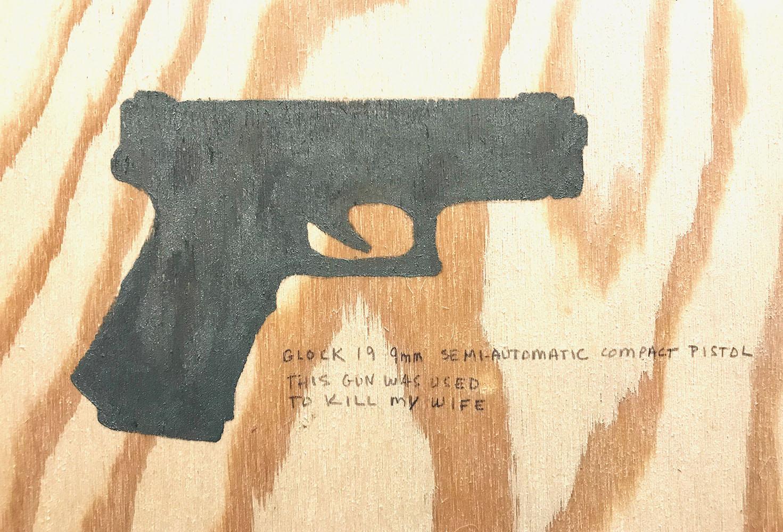 "My Wife-Detail , 2017 Eye shadow, graphite, varnish on plywood, 16.5"" x 18.5"""