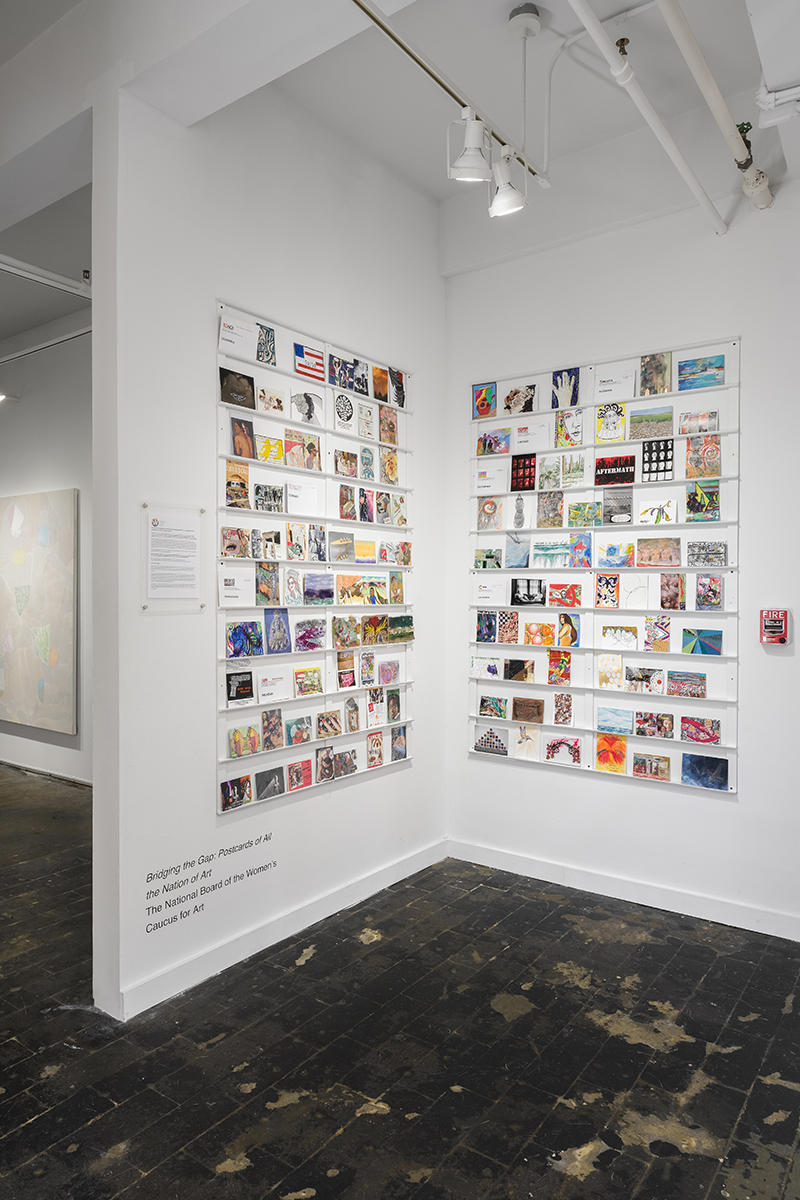Installation view of  Bridging the Gap: Postcards of All the Nation of Art