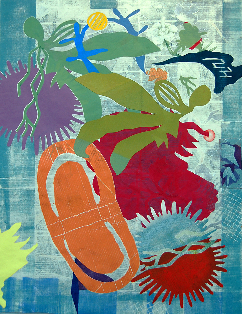 "In collaboration with Yvette Drury Dubinsky  Sculpture Garden Duos , 2018, monoprint with collage, 50""x38"""