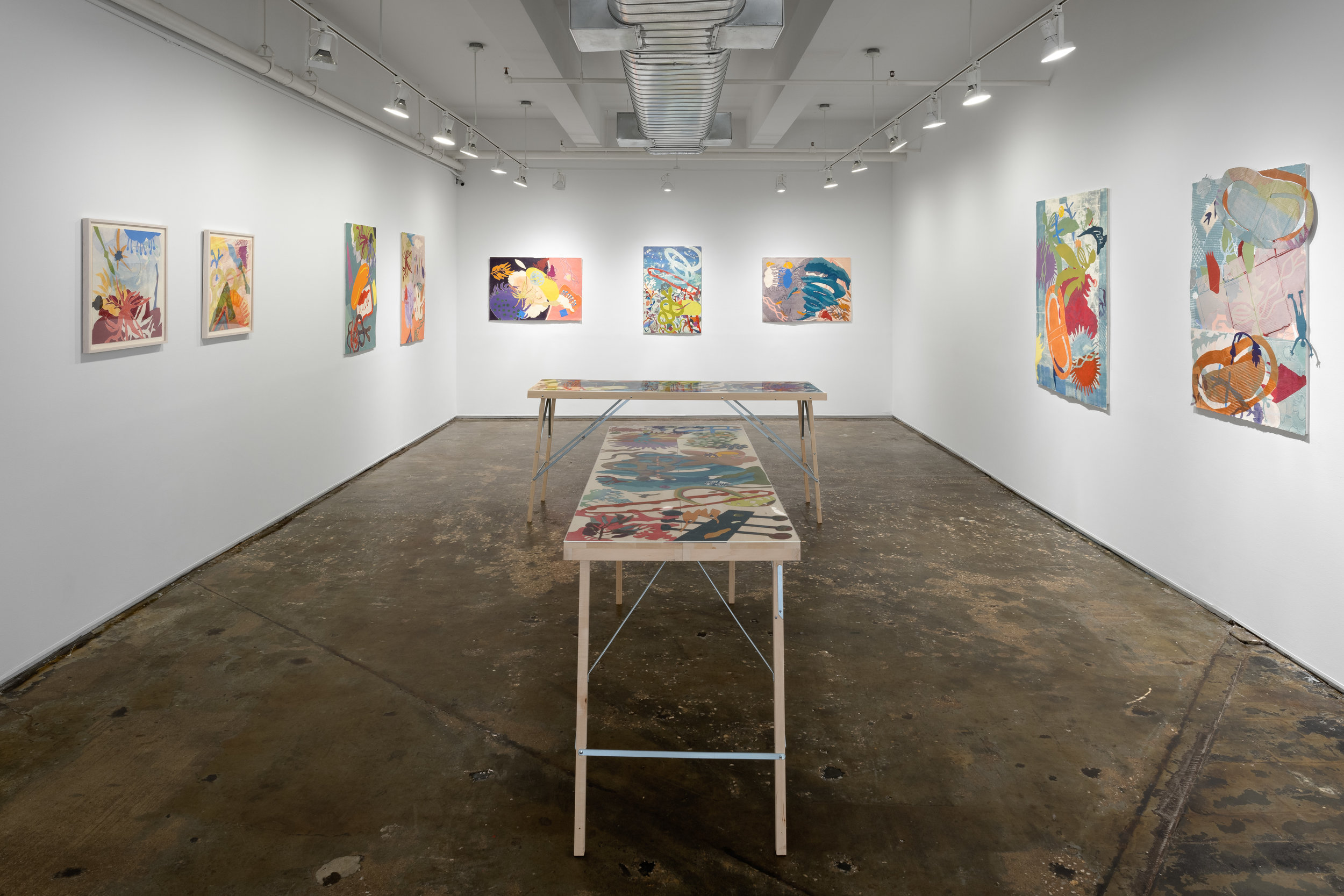 Installation view of  Steamroller Collaborations.  Photo by Sebastian Bach.