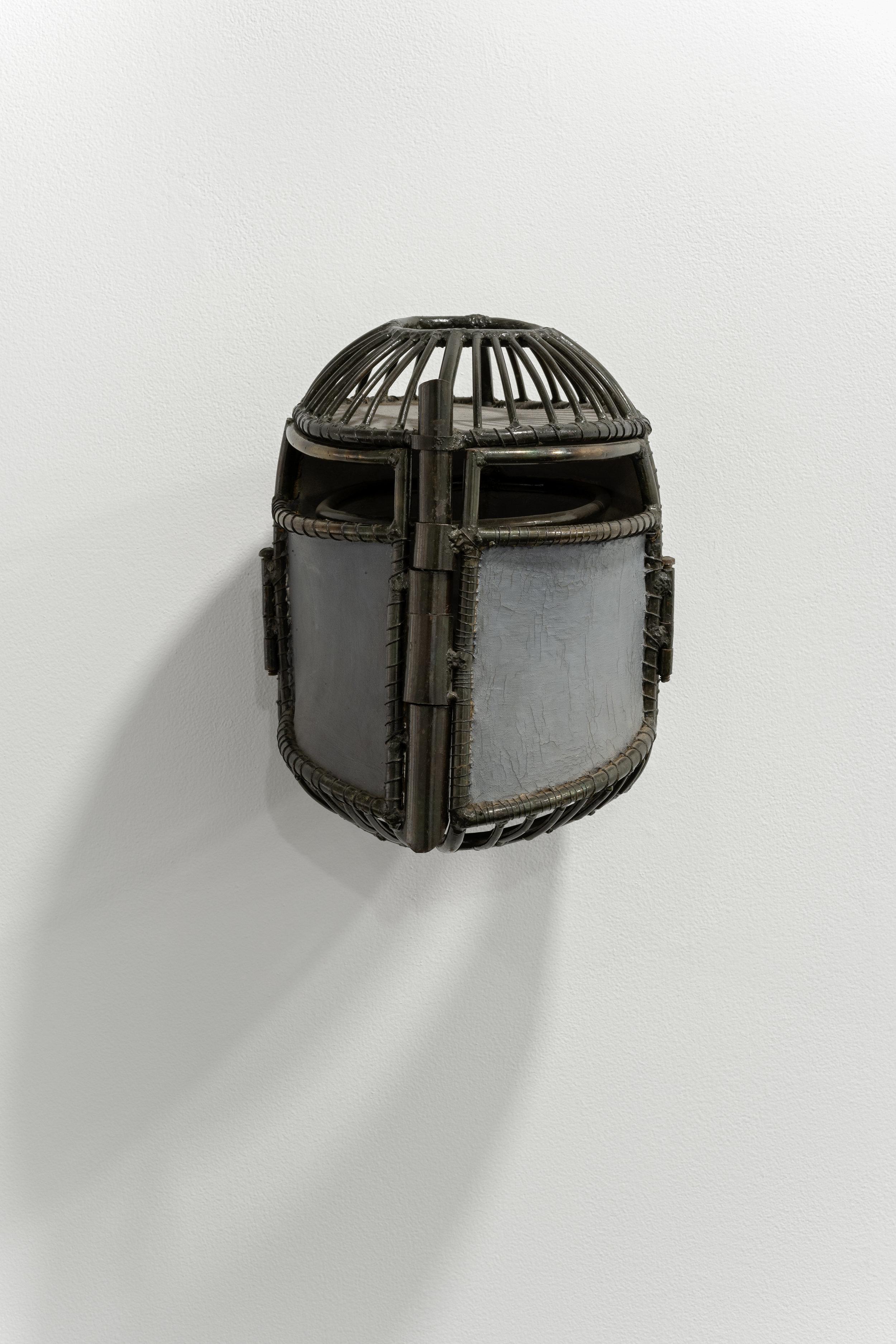 Helene Brandt  Head Chamber , 1980s, Steel, fabric, 11 1/2 x 22 x 7 inches