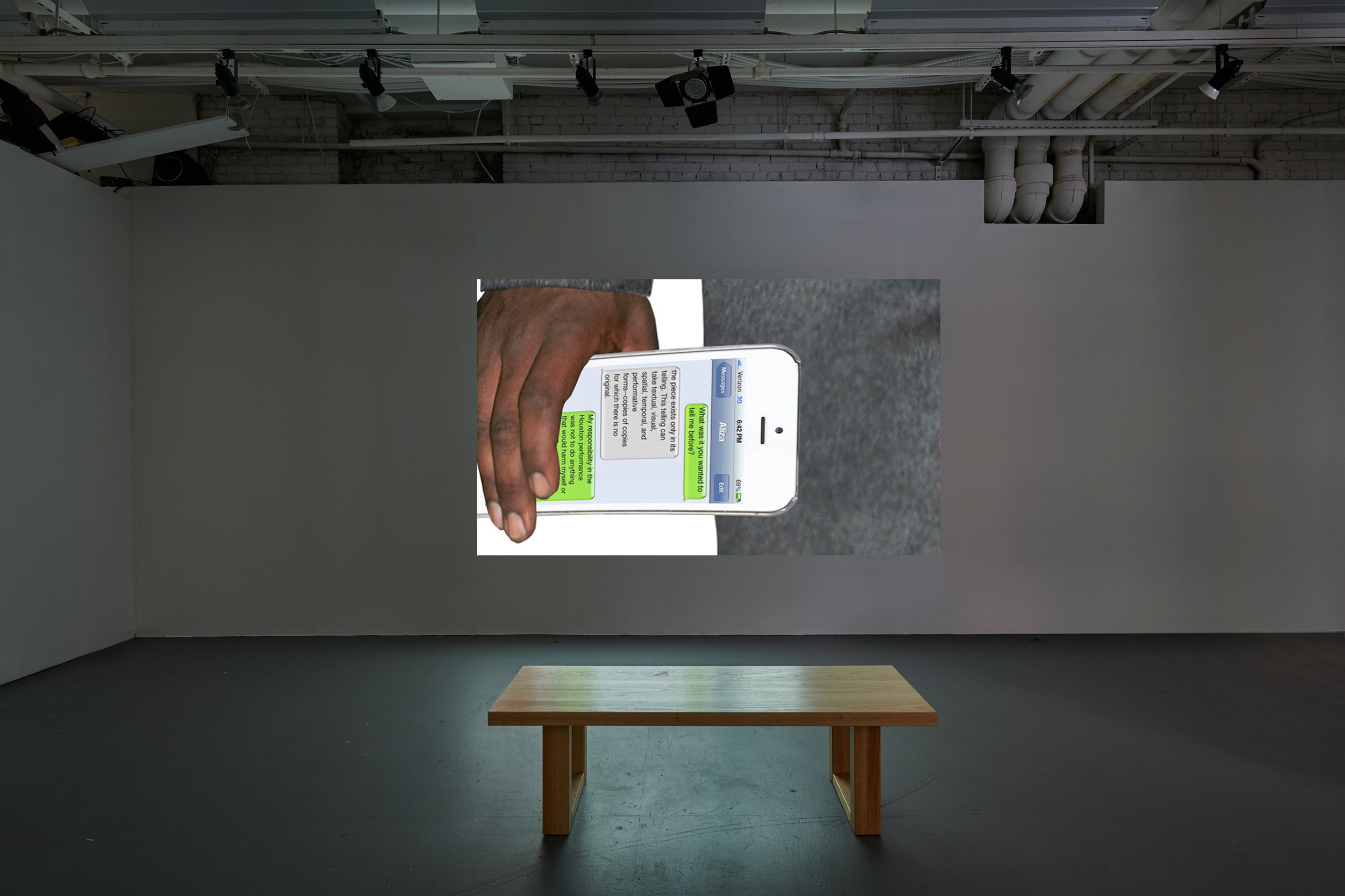 Aliza Shvarts,  Nonconsensual Collaborations (installation view) , 2012-2014 ,  Digital video projection.