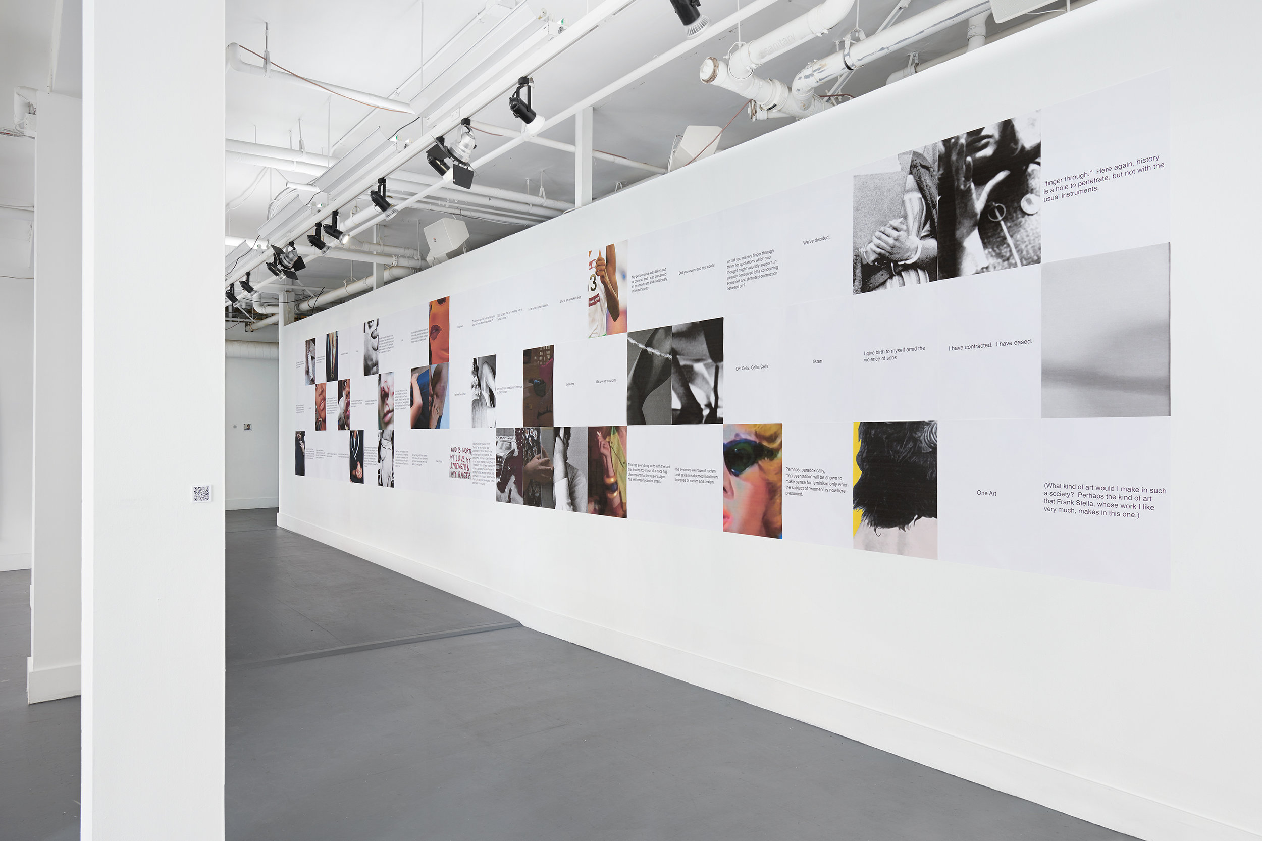 "Aliza Shvarts, Cite/Site (installation view), 2018, 72 18""x24"" inkjet prints on paper."