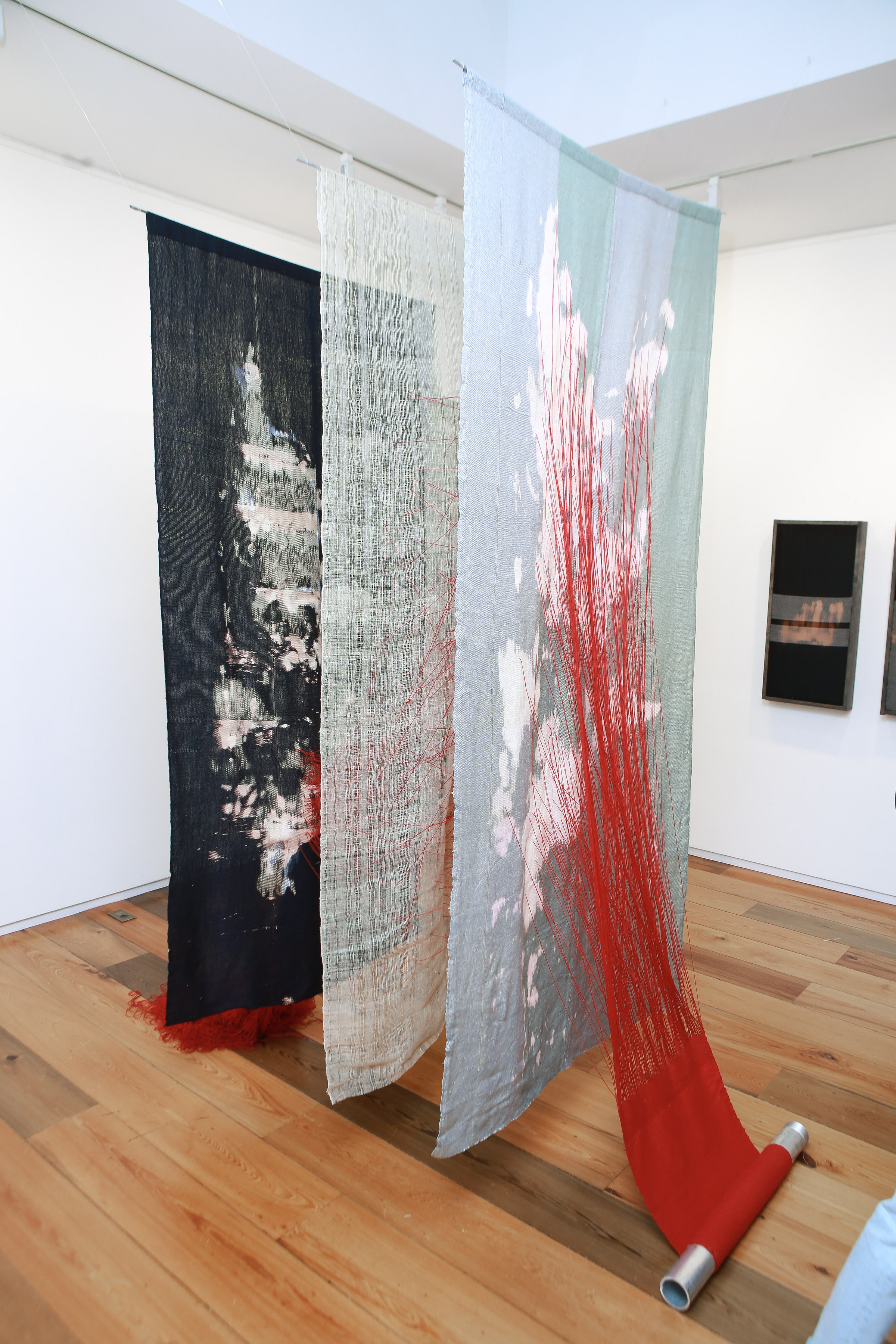 Victoria Manganiello,  El Trifinio , 2015, Natural and Synthetic Fiber and Dye, Aluminum, 108 x 60 x 96 in.