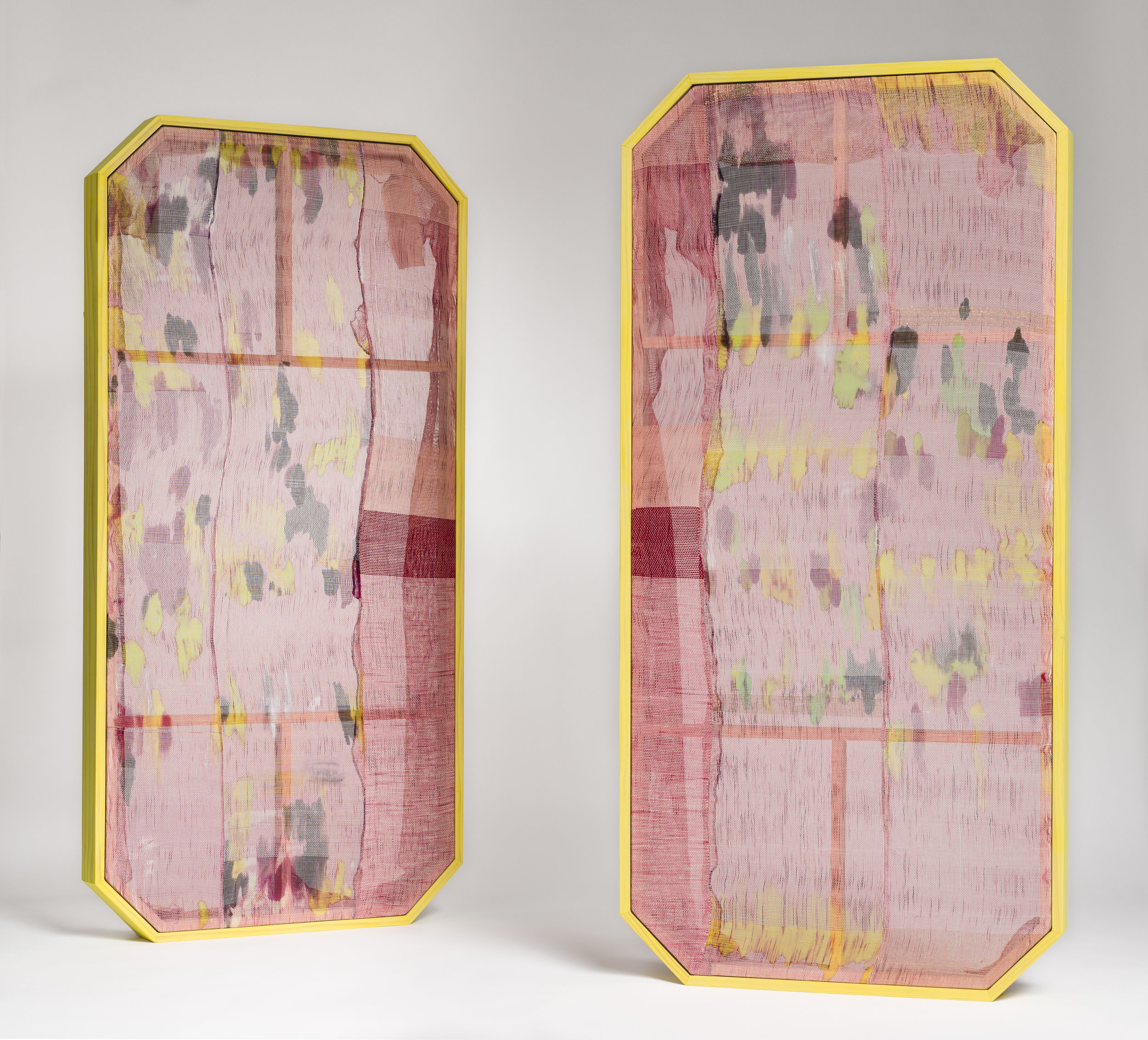 Victoria Manganiello,  Untitled #102 & Untitled #103 , 2018, Natural and Synthetic Fiber, Artist Frame, 62 x 30 x 3.5 in.