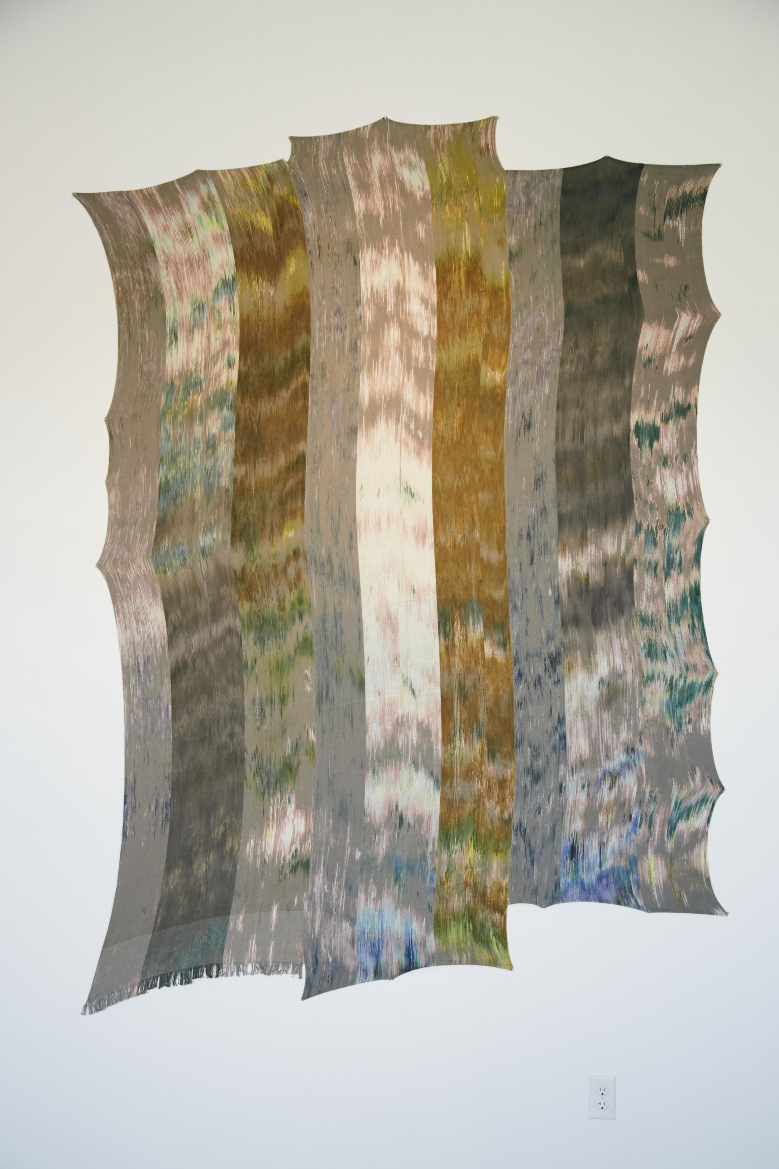 Victoria Manganiello,  Untitled #50 , 2016, Natural and Synthetic Fiber and Dye, , 118 x 62 x 1 in.