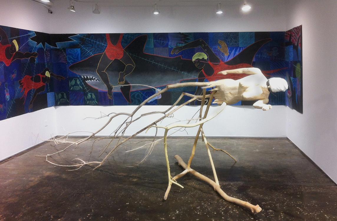 Swimmer , 3-D sketch for Swimmer, 22' long x 5' high, wood, 2019